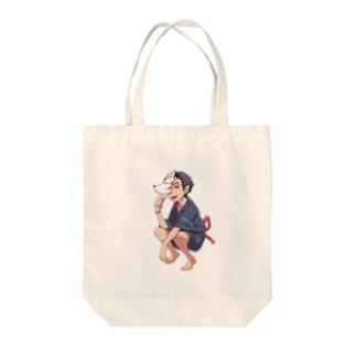 鬼の少年 Tote bags