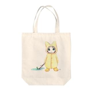 Tio Heartilの梅雨ねこちゃん Tote bags