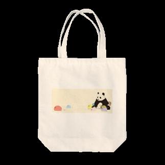 神ノ澤 花のだんご大家族と一匹ぱんだ Tote bags