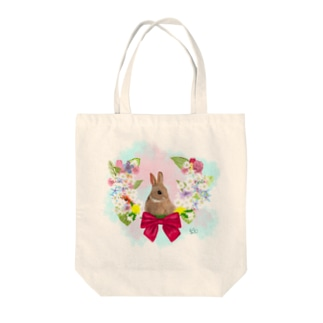 うさぎと花 Tote bags