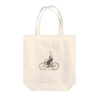 自転車に乗って Tote bags