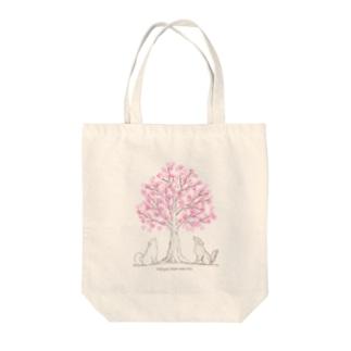 わんこたちと願いの木🌸バッグ Tote bags