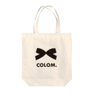 COLOM.コロ。ロゴ!リボン!人気かわいい!いぬ動物犬グッズ!黒ブラック Tote bags