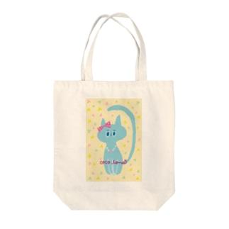 りぼんを付けた猫(水色) Tote bags