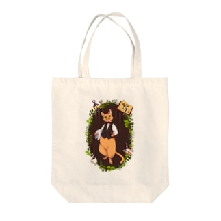 "cafe ""capricious cat"" Tote bags"