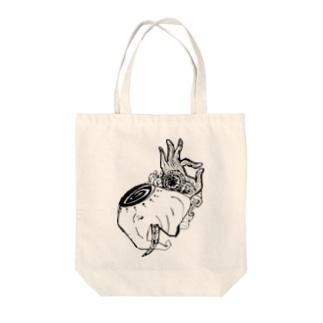 サイケデリックエレファント Tote bags