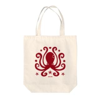 蛸紋章レッド Tote bags