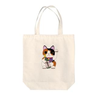 旭正宗招き猫 トートバック Tote bags