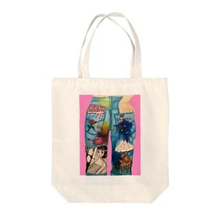80'sジーンズイラスト Tote bags
