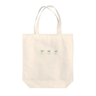 びびりうさぎ三つ並び Tote bags