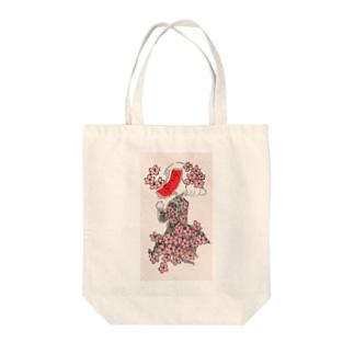 桜に赤短 Tote bags