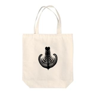 【ラテアート】ブラックシングルリーフ Tote bags