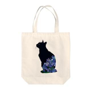 6月(黒猫紫陽花) Tote bags