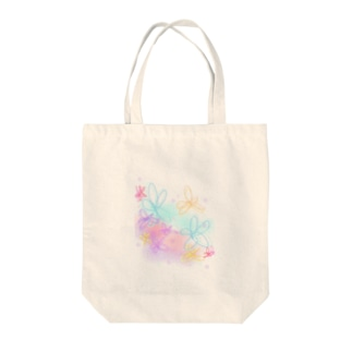 気まぐれshop 【ta-ma】のフラワー(waterblue) Tote bags