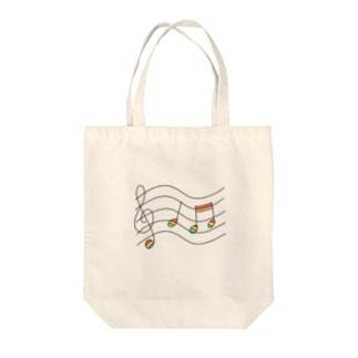 虹の音符たち Tote bags