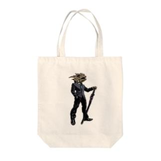 Mr.爬虫類ヘッド Tote bags