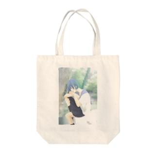 ヒトリちゃん*青 Tote bags