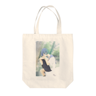 ちゃっかりのヒトリちゃん*青 Tote bags