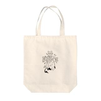 合掌たぬき Tote bags