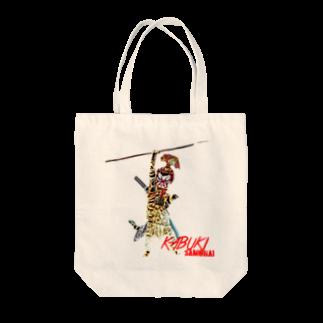 Rock catのKABUKI SAMURAI Tote bags