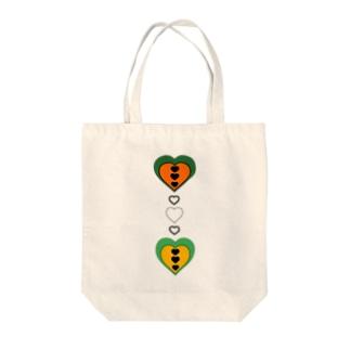 ハート(みどり✖おれんじ) Tote bags