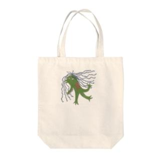 アマビエ壁画風 Tote bags