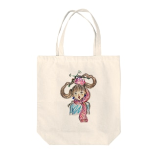 ツインテ編み編み Tote bags