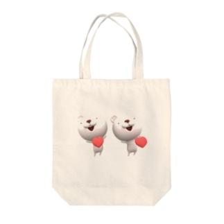 立体視で飛び出す! 3Dシンクロくまちゃん/ハート Tote bags