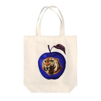 虎と青りんご_Tiger and apple Tote bags