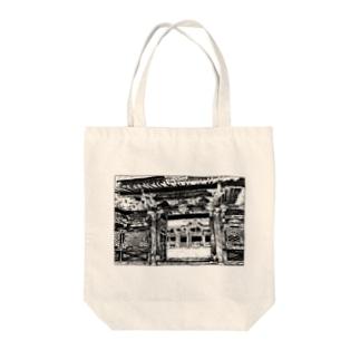 ペン画・東京の神社 Tote bags