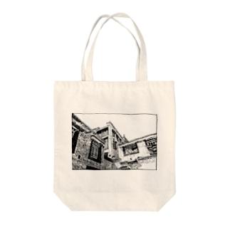 ペン画・チベットの風景 Tote bags