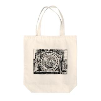 ペン画・チェコの大時計 Tote bags
