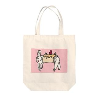 うさぎのロールケーキ Tote bags