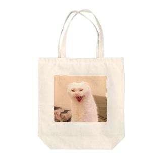 白モフ猫むく Tote bags