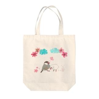 シナモン文鳥と白文鳥のカップル Tote bags