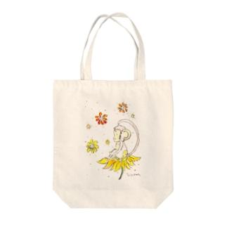 幸せのお花とさる Tote bags