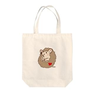 ハリネズミまめまめ Tote bags