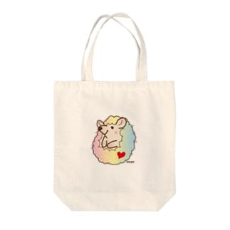ハリネズミまめまめマルチカラー Tote bags