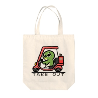 TAKE OUT マーク Tote bags