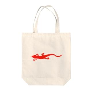 真っ赤なヤモリ(横) Tote bags