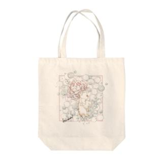 雨の音(スクエア・ピンク) Tote bags