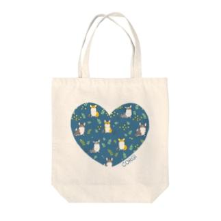 サカモトリエ/イラストレーターのLOVEコーギー Tote bags