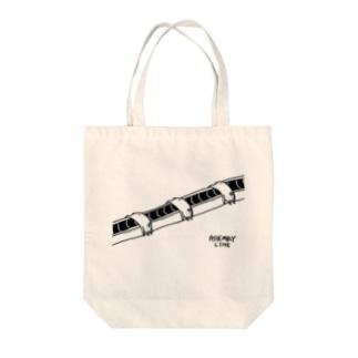 ウサギの生産ライン Tote bags