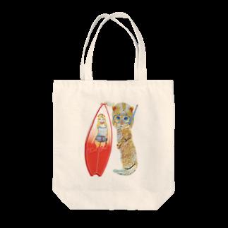 Rock catのサーファーCAT GIRL Tote bags