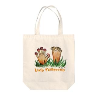 Limb mushrooms Tote bags