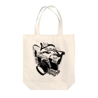 レスグラカメラ-BlACK- Tote bags