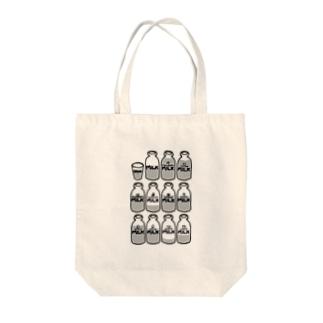 らくがきシリーズ『イロイロみるく』モノクロ Tote bags