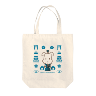 HAPPYDOG製作所@SUZURIの武士犬わんころくん_模様A Tote bags