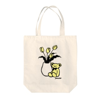 くまとチューリップ Tote bags
