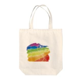 虹色ライオン Tote bags